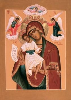 """ხატი """"ღირს არსი"""" - გალობის დროს ღვთისმშობლის ხატი ზეციური ნათლით გაბრწყინდა"""