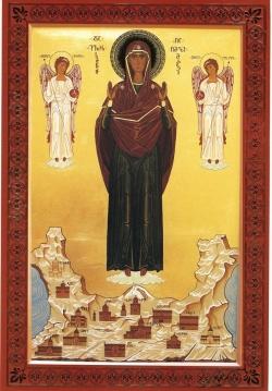 """საქართველოს საზღვრებს   ახალშექმნილი დედა ღვთისმშობლის ხატი -""""სამანთმფარველი"""" დაიფარავს"""