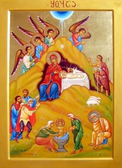 შობის ღამეს ბეთლემის შემოგარენში ცა ანგელოზთა დასმა დაფარა