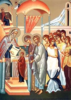 მარიამი შედის წმინდათა წმინდაში - ამ მოქმედებით იწყება ღმერთთან ადამიანთა მოდგმის შერიგების საიდუმლო
