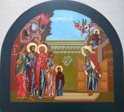ყოვლადწმიდა ქალწული საუკეთესო სამოსლით შემოსეს და გალობითა და ანთებული სანთლებით მიიყვანეს იერუსალიმის ტაძარში
