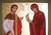 წმინდა რომანოზი ამბიონზე ავიდა და ყველას გასაგონად საოცრად ტკბილი ხმით დაიწყო გალობა