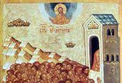 ღამის სამ საათზე ციდან ბრწყინვალე ნათლის სვეტი დაეშვა ტბაზე და წმინდა მოწამეებს დაეფინა